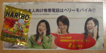 日本語のチラシ(お菓子つき)