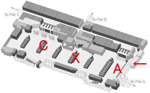 ダブリン空港出発階見取り図